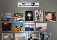 Huntington, NY, U.S. Feb. 29, 2020. Photographs in the fotofoto gallery 'Your Best Shot' Open Photography exhibition are attached to walls with push-pins.