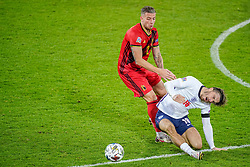 LEUVEN, BELGIUM - Sunday, November 15, 2020: Belgium's Toby Alderweireld (L) challenges England's Jack Grealish during the UEFA Nations League Group Stage League A Group 2 match between England and Belgium at Den Dreef. (Pic by Jeroen Meuwsen/Orange Pictures via Propaganda)