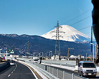Power Lines and Mount Fuji from a Bus while traveling from Yokohama to Hakone. Image taken with a Nikon 1 V3 camera and 10-30 mm lens (ISO 160, 30 mm, f/5.6, 1/1250 sec).
