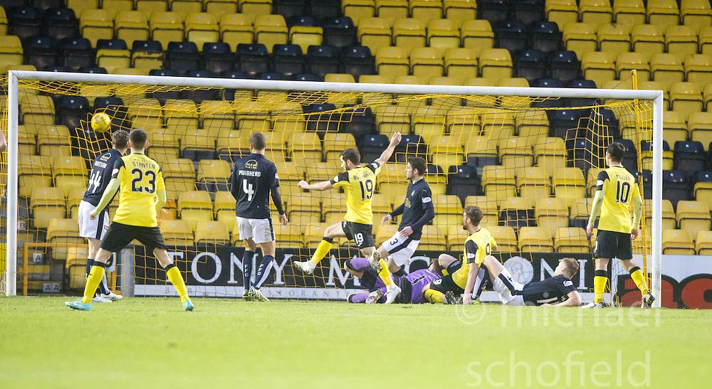 Livingston Liam Buchanan (19) scoring their goal. <br /> Livingston 1 v 1 Falkirk, Scottish Championship game at The Tony Macaroni Arena at 23/1/2016.