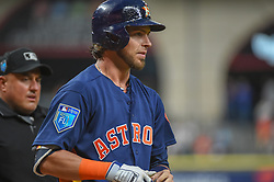 March 26, 2018 - Houston, TX, U.S. - HOUSTON, TX - MARCH 26: Houston Astros outfielder Josh Reddick (22) is unsettled after a called third strike during the game between the Milwaukee Brewers and Houston Astros at Minute Maid Park on March 26, 2018 in Houston, Texas. (Photo by Ken Murray/Icon Sportswire) (Credit Image: © Ken Murray/Icon SMI via ZUMA Press)