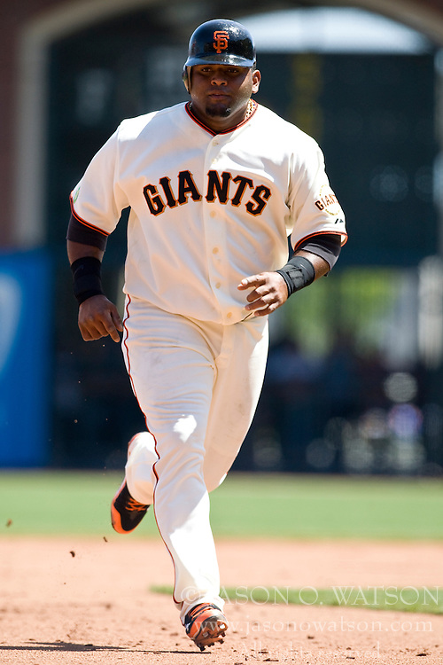 April 25, 2010; San Francisco, CA, USA;  San Francisco Giants third baseman Pablo Sandoval (48) during the fourth inning against the St. Louis Cardinals at AT&T Park. St. Louis defeated San Francisco 2-0.