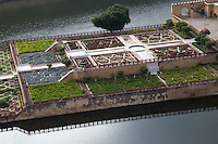 """Kesar Kyari Bagh on Maota Lake is part of the Amber Fort complex and was created  for the women of the harem to admire from above.  The name means """"saffron growing garden""""  originally it was this plant that grew in this location. It is also called Maunbari garden."""