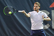 DAVID GOFFIN hits a forehand at the Rock Creek Tennis Center.
