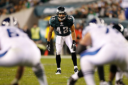 Philadelphia Eagles safety Kurt Coleman #42 during the NFL Game between the Indianapolis Colts and the Philadelphia Eagles. The Eagles won 26-24 at Lincoln Financial Field in Philadelphia, Pennsylvania on Sunday November 7th 2010. (Photo By Brian Garfinkel)