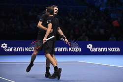 November 15, 2017 - London, England, United Kingdom - Jamie Murray of Great Britain and Bruno Soares of Brazil celebrate during their Doubles match against Ivan Dodig of Croatia and Marcel Granollers of Spain on day four of the Nitto ATP World Tour Finals at O2 Arena, London on November 15, 2017. (Credit Image: © Alberto Pezzali/NurPhoto via ZUMA Press)