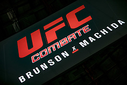 October 27, 2017 - Sao Paulo, Sao Paulo, Brazil - Oct, 2017 - Sao Paulo, Sao Paulo, Brazil - Plate inside the Gymnasium of Ibirapuera in the city of São Paulo, announcement of the combat between UFC fighters DEREK BRUNSON and LYOTO MACHIDA. The venue will stage the fight between the two during UFC Sao Paulo Fight Night on Saturday (28) (Credit Image: © Marcelo Chello/CJPress via ZUMA Wire)