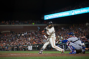San Francisco Giants shortstop Brandon Crawford (35) swings at a Los Angeles Dodgers pitch at AT&T Park in San Francisco, California, on April 24, 2017. (Stan Olszewski/Special to S.F. Examiner)