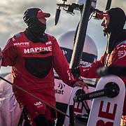 Leg 3, Cape Town to Melbourne, day 02, Tamara Echegoyen, Louis Sinclair on board MAPFRE. Photo by Jen Edney/Volvo Ocean Race. 11 December, 2017.