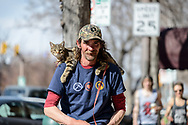 Man with cat on shoulders, Ft Collins CO