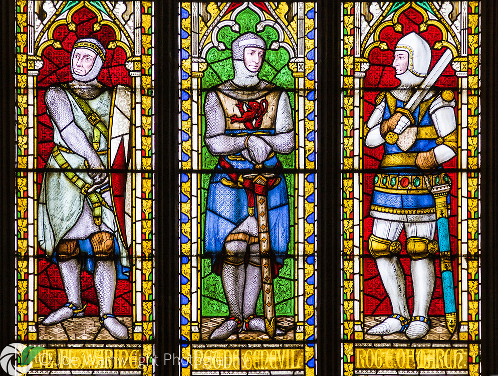 Richly coloured stained glass in the windows of the historic St. Laurence's Church, Ludlow.