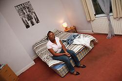 Teenage girl in hostel.
