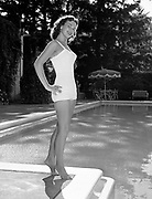 Y-550811-04.  Miss Oregon, Dorothy Johnson, at Aaron Frank's Pool (of Meier & Frank).August 11, 1955