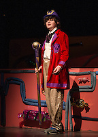 """Ryan Witham as Willy Wonka in Gilford Middle School's dress rehearsal for """"Willy Wonka"""" on Monday evening.  (Karen Bobotas/for the Laconia Daily Sun)"""