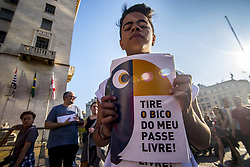 July 13, 2017 - SâO Paulo, São paulo, Brazil - SAO PAULO, BRAZIL - JULY 13: PROTEST PUBLIC TRANSPORT IN BRAZIL:The Paulista Union of Secondary Students (Upes) held a protest against the decision of the mayor of São Paulo, João Doria (PSDB), to restrict the trips of the free student pass - from eight to four tickets a day; The concentration of the act occurred in the Viaduto do Chá, where the headquarters of the São Paulo City Hall is located, in the center of the capital. (Credit Image: © Cris Faga via ZUMA Wire)