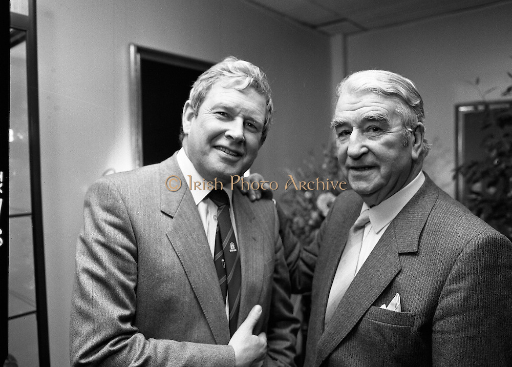 Kerry Person Of The Year.   (R73)..1988..15.02.1988..02.15.1988..15th February 1988..Dr Bryan McMahon of Listowel, Co Kerry has been selected as 'Kerry Person of The Year' for 1988. It was announced at a reception at in The Guinness Brewery, St James's Gate, Dublin...Mr Pat Healy, Sales Director, Guinness Group Sales and Dr Bryan McMahon are pictured together at the Guinness reception centre after Dr McMahon was declared 'Kerryman Of The Year'.