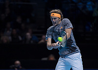 Tennis - 2019 Nitto ATP Finals at The O2 - Day Two<br /> <br /> Singles Group Andre Agassi: Rafael Nadal (Spain) Vs. Alexander Zverev (Germany)<br /> <br /> Alexander Zverev (Germany) in action as he looks on his way to beating Rafael Nadal (Spain) <br /> <br /> COLORSPORT/DANIEL BEARHAM<br /> <br /> COLORSPORT/DANIEL BEARHAM