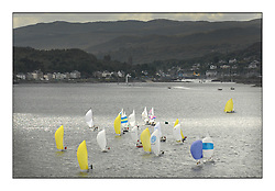 Sailing - The 2007 Bell Lawrie Scottish Series hosted by the Clyde Cruising Club, Tarbert, Loch Fyne..Fleet Aerial Tiso Race course downwind sportboat fleet.SB3 , Sonata..Tiso Race course downwind sportboat fleets.. .