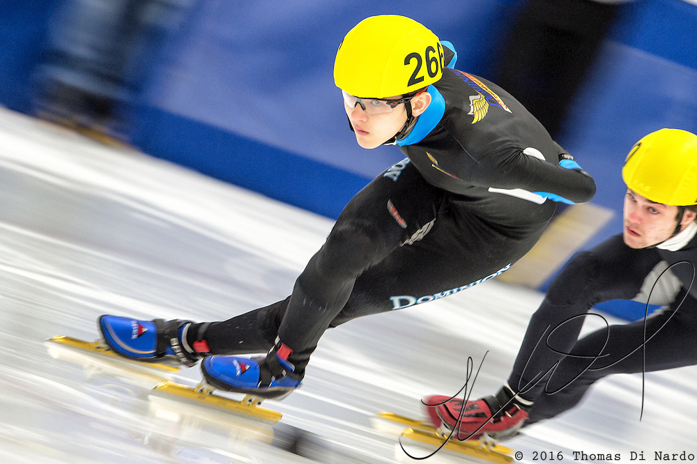 March 20, 2016 - Verona, WI - Luca Lim, skater number 266 competes in US Speedskating Short Track Age Group Nationals and AmCup Final held at the Verona Ice Arena.