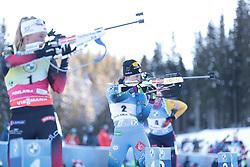 14.02.2021, Center Pokljuka, Pokljuka, SLO, IBU Weltmeisterschaften Biathlon, Sprint, Damen, im Bild chevalier boichet (anais) (fra), eckhoff (tiril) (nor) // during womens Sprint competition of IBU Biathlon World Championships at the Center Pokljuka in Pokljuka, Slovenia on 2021/02/14. EXPA Pictures © 2021, PhotoCredit: EXPA/ Pressesports/ Frederic Mons<br /> <br /> *****ATTENTION - for AUT, SLO, CRO, SRB, BIH, MAZ, POL only*****