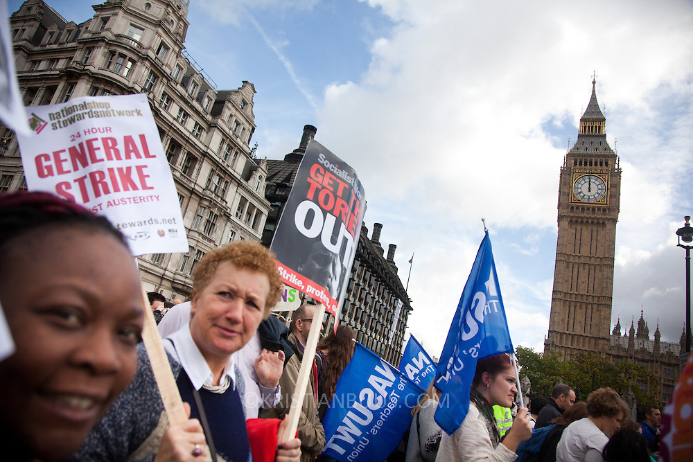 Thousands of teachers took to the streets of London in a march of prostest against Government cuts and proposed longer hours and later pensions as part of a nation wide strike. Michael Gove, the Secretary of State for Education is the prime taget of the teacher's venon and anger.