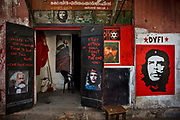 The entrance to the communist party offices by the port show paintings of Marx and Che Guevara on 28th February 2018 in Kochi, Kerala, India. Today the largest political party in Kerala politics is the Communist Party of India Marxist.