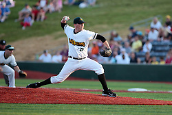 """1 June 2010: The first pitch in the Corn Crib is thrown by starter Tyler Lavigne. The Windy City Thunderbolts are the opponents for the first home game in the history of the Normal Cornbelters in the new stadium coined the """"Corn Crib"""" built on the campus of Heartland Community College in Normal Illinois."""