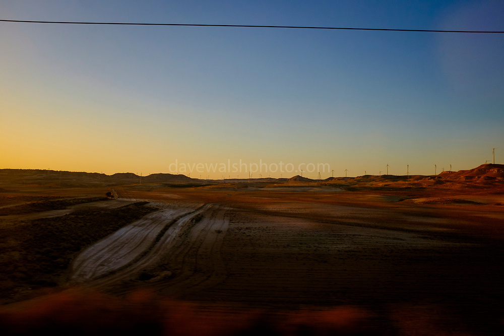 Mars Landscape: View from high speed AVE train between Barcelona Sants and Madrid Atoche stations.