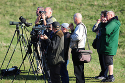 © Licensed to London News Pictures. 25/09/2018<br /> GRAVESEND, UK.<br /> Whale watchers waiting..<br /> A Beluga whale has been seen in the River Thames near Gravesend, Kent.<br /> Photo credit: Grant Falvey/LNP