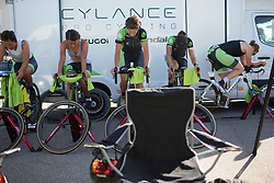 Cylance Pro Cycling riders warm up for the Crescent Vargarda - a 42.5 km team time trial, starting and finishing in Vargarda on August 11, 2017, in Vastra Gotaland, Sweden. (Photo by Balint Hamvas/Velofocus.com)