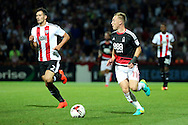 Nottingham Forest midfielder Ben Osborn (11) dribbling during the EFL Sky Bet Championship match between Brentford and Nottingham Forest at Griffin Park, London, England on 16 August 2016. Photo by Matthew Redman.