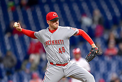April 11, 2018 - Philadelphia, PA, U.S. - PHILADELPHIA, PA - APRIL 11: Philadelphia Phillies starting pitcher Jerad Eickhoff (48) winds up to pitch during the MLB game between the Cincinnati Reds and the Philadelphia Phillies on April 11, 2018 at Citizens Bank Park in Philadelphia PA. (Photo by Gavin Baker/Icon Sportswire) (Credit Image: © Gavin Baker/Icon SMI via ZUMA Press)
