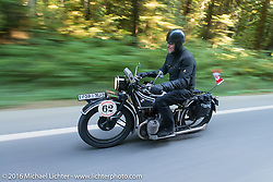 Scott Blaylock riding his 1928 BMW R62 during Stage 16 (142 miles) of the Motorcycle Cannonball Cross-Country Endurance Run, which on this day ran from Yakima to Tacoma, WA, USA. Sunday, September 21, 2014.  Photography ©2014 Michael Lichter.