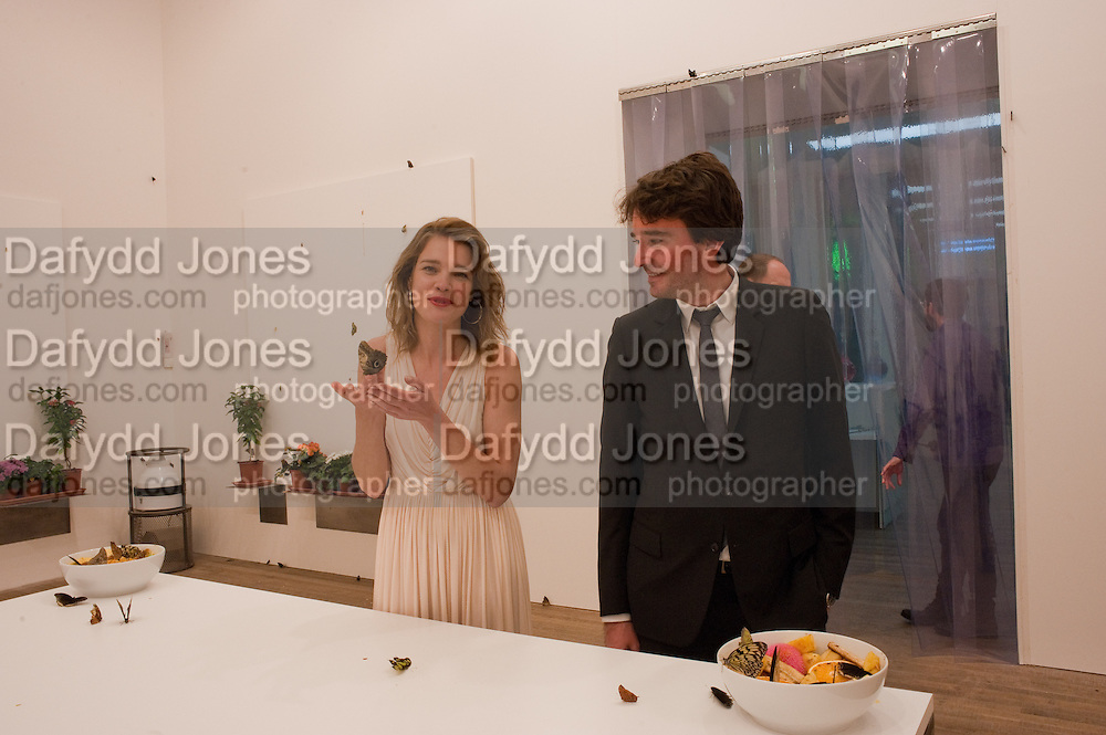 NATALIA VODIANOVA; ANTOINE ARNAUD WITH BUTTERFLIES, Damien Hirst, Tate Modern: dinner. 2 April 2012.