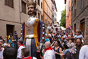 Costumed giant characters, Gigantes de Irunako Erraldoiak, during San Fermin Fiesta at Pamplona, Navarre, Northern Spain