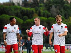 Wayne Rooney of England (Manchester United) talks with Nathaniel Clyne of England (Liverpool) and Luke Shaw of England (Manchester United) before the game  - Mandatory byline: Joe Meredith/JMP - 07966386802 - 05/09/2015 - FOOTBALL- INTERNATIONAL - San Marino Stadium - Serravalle - San Marino v England - UEFA EURO Qualifers Group Stage
