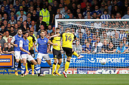 Burton Albion defender Damien McCrory (14) shoots at goal during the EFL Sky Bet Championship match between Burton Albion and Sheffield Wednesday at the Pirelli Stadium, Burton upon Trent, England on 26 August 2017. Photo by Richard Holmes.
