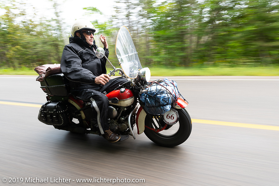 Jerry Wieland riding his 1941 Harley-Davidson FL Knucklehead bagger in the Cross Country Chase motorcycle endurance run from Sault Sainte Marie, MI to Key West, FL. (for vintage bikes from 1930-1948). Stage 1 from Sault Sainte Marie to Ludington, MI USA. Friday, September 6, 2019. Photography ©2019 Michael Lichter.