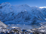 Mueller Lake, with Mt. Sefton in the background; Aoraki/Mt. Cook National Park, New Zealand.