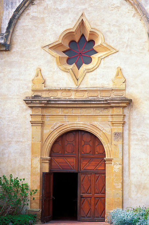 The main entrance at Mission San Carlos Borromeo de Carmelo (2nd California Mission), Carmel, California