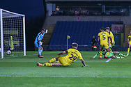 Forest Green Rovers George Williams(11) shoots at goal hits the post during the The FA Cup 1st round match between Oxford United and Forest Green Rovers at the Kassam Stadium, Oxford, England on 10 November 2018.