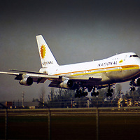 One of two owned Boeing 747s of National Airlines, The Sunshine Airline, lands in Miami.