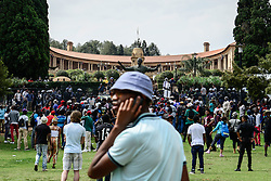 PRETORIA, Oct. 20, 2016 (Xinhua) -- Protesting college students gather outside the Union Buildings, the official seat of the?South African government, in Pretoria, on Oct. 20, 2016. The latest wave of student protests has continued for weeks since universities were given the green light by the government last month to raise tuition fees, provided that it does not exceed eight percent.?Students are demanding zero-percent fee increase and pressing the ruling African National Congress to live up to its promise to provide free education by 2016.?(Xinhua/Zhai Jianlan) (Credit Image: © Zhai Jianlan/Xinhua via ZUMA Wire)