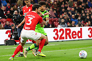 Middlesbrough defender George Friend (3) and Norwich City midfielder Onel Hernandez (25) battle for the ball during the EFL Sky Bet Championship match between Middlesbrough and Norwich City at the Riverside Stadium, Middlesbrough, England on 30 March 2019.