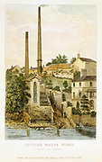 Chester Water Works: pumping station raising water from the Dee for town's water supply. From print published Chester 1852.