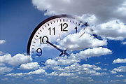 Collage photo of clock with a blue sky and clouds