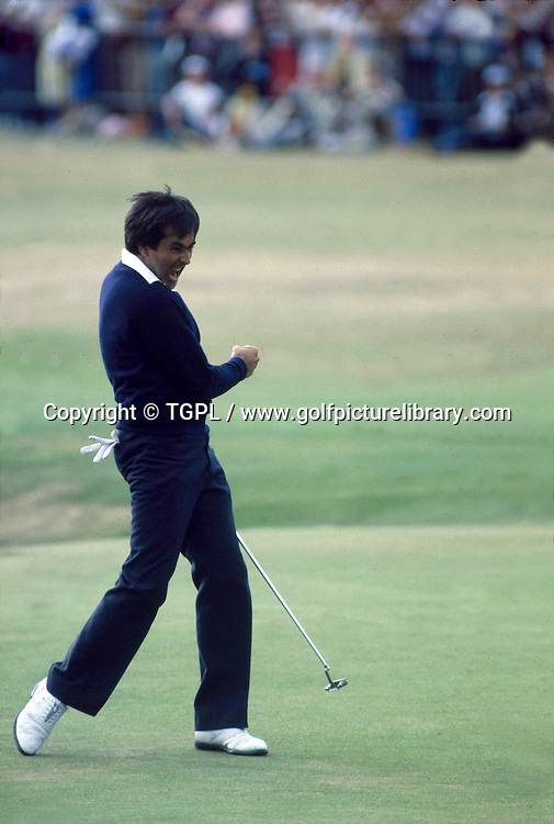 Seve BALLESTEROS (SPN) celebrates, with his now iconic fist pump,after holing his putt for a dramatic birdie at 18th par 4 during fourth round Open Championship 1984,St.Andrews,Old Course, St.Andrews, Fife, Scotland.2 of 3 frame sequence.