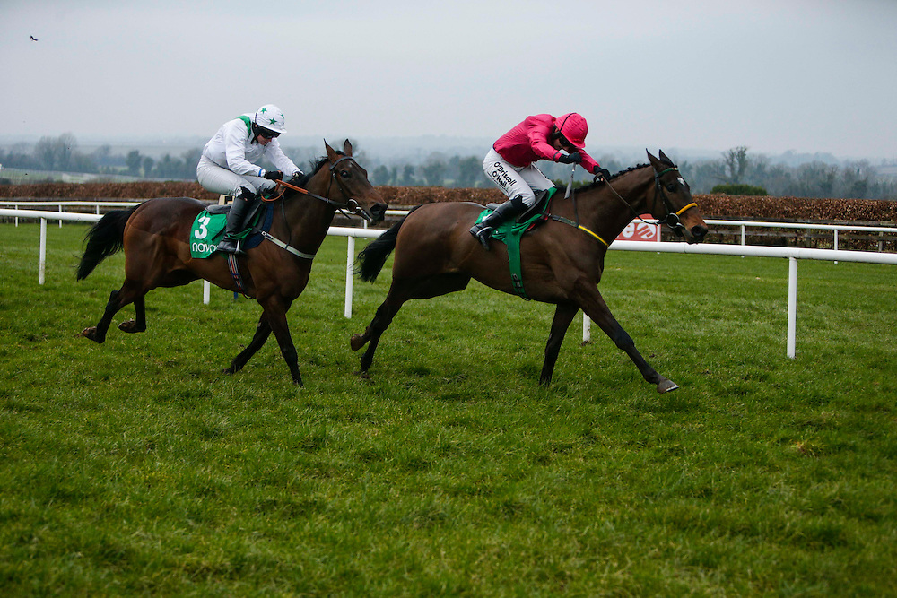 Navan Races, Saturday 27th February 2016.<br /> Nina Carberry on Gettysbury Address leads the field and goes on to win the Athboy Pro/Am Flat<br /> Photo: David Mullen /www.cyberimages.net / 2016