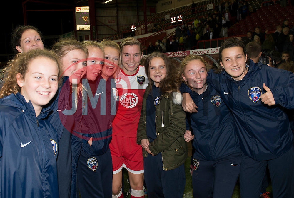 Bristol Academy Womens' Grace McCatty poses for a photo with fans - Photo mandatory by-line: Dougie Allward/JMP - Mobile: 07966 386802 - 13/11/2014 - SPORT - Football - Bristol - Ashton Gate - Bristol Academy Womens FC v FC Barcelona - Women's Champions League