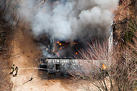 Firefighters battle a blaze in Isabella County, Michigan.